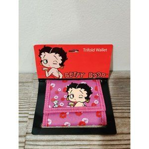 New! Betty Boop Trifold Wallet PINK red